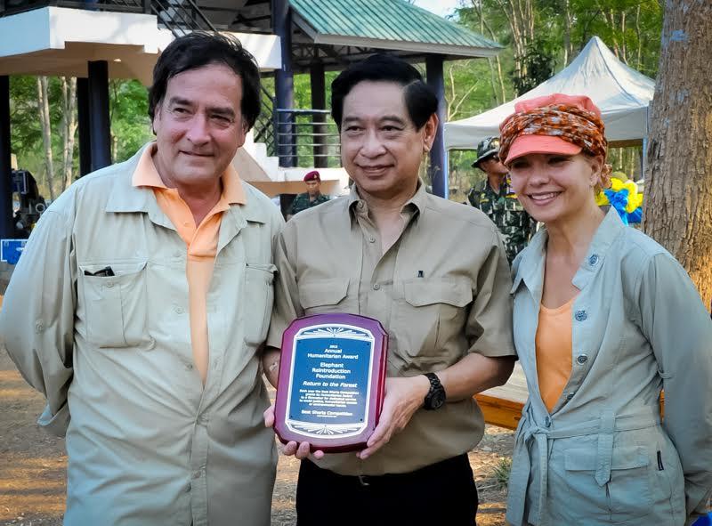 Filmmakers Patricia Sims and Michael Clark with Secretary- General of ERF, Sivaporn Dardarananda